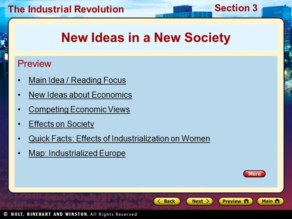 New Ideas in a New Society