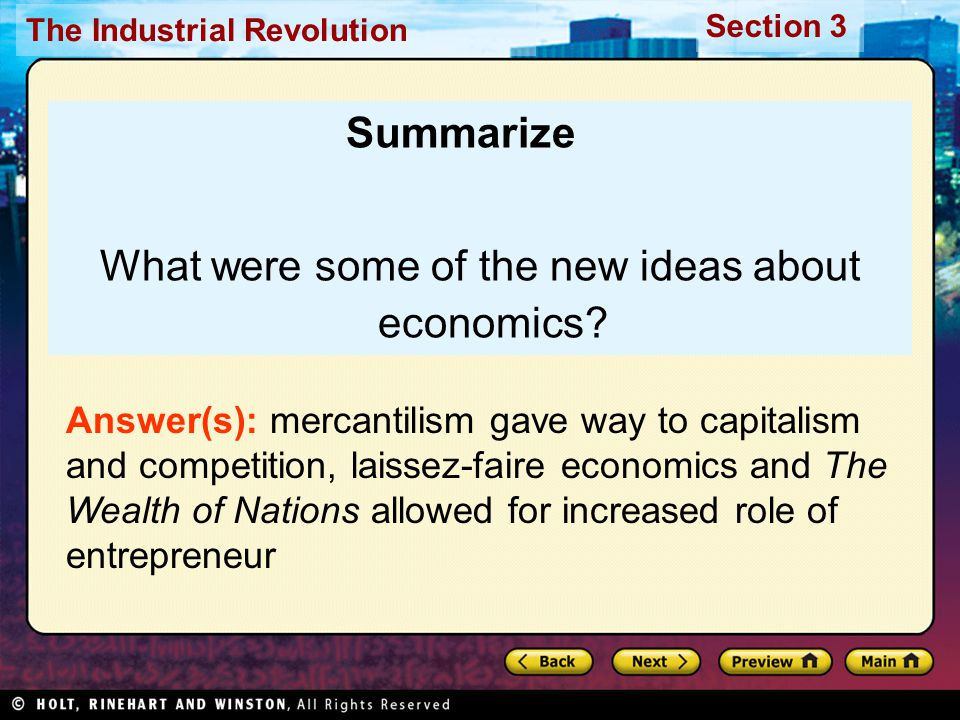 What were some of the new ideas about economics