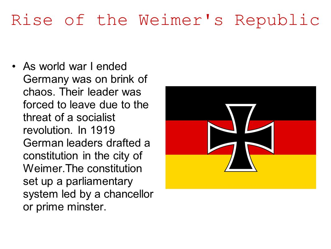 Rise of the Weimer s Republic