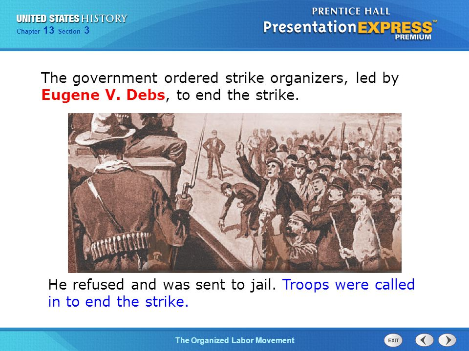The government ordered strike organizers, led by Eugene V
