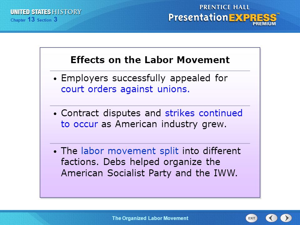 Effects on the Labor Movement