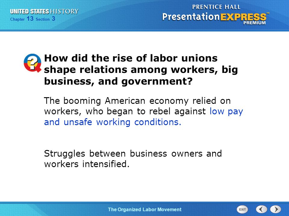How did the rise of labor unions shape relations among workers, big business, and government
