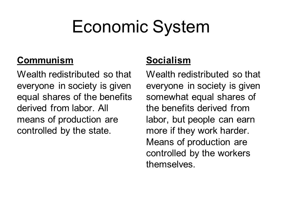 Economic System Communism Socialism