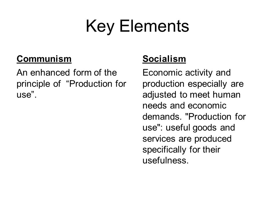 Key Elements Communism Socialism