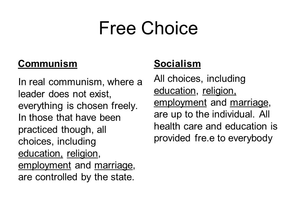 Free Choice Communism Socialism