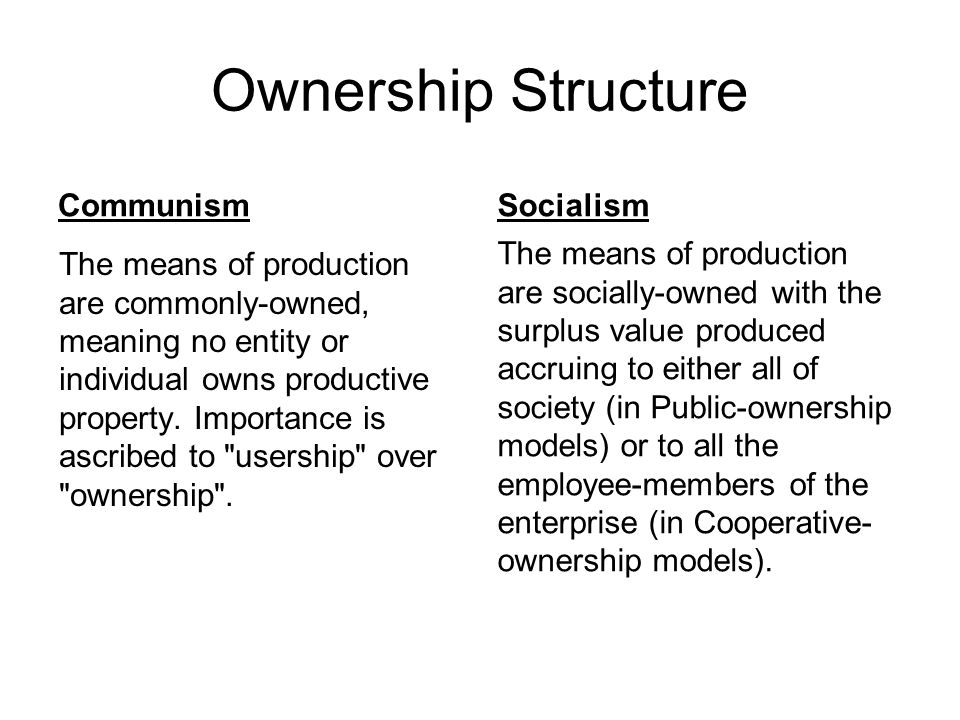 Ownership Structure Communism Socialism