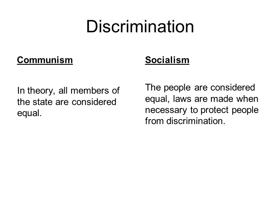 Discrimination Communism Socialism