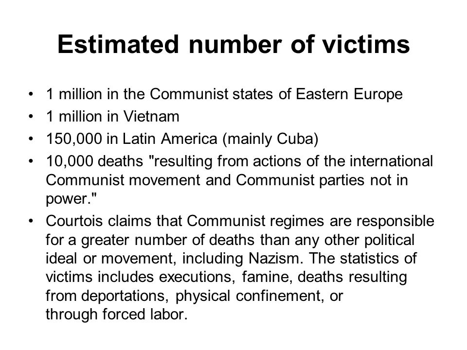 Estimated number of victims