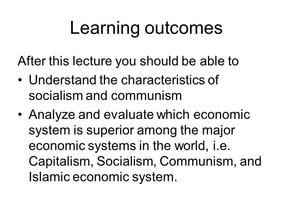 Learning outcomes After this lecture you should be able to
