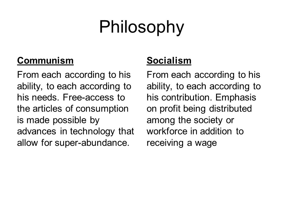 Philosophy Communism Socialism