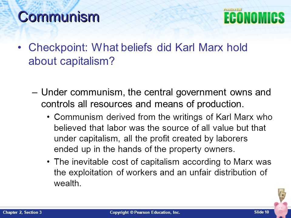 Communism Checkpoint: What beliefs did Karl Marx hold about capitalism