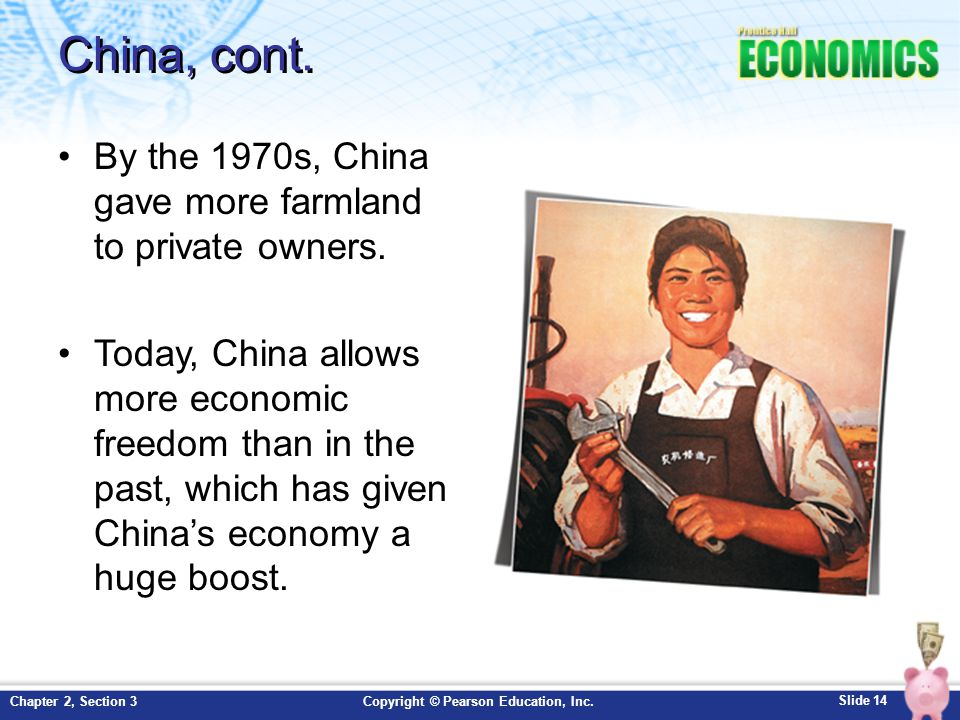China, cont. By the 1970s, China gave more farmland to private owners.