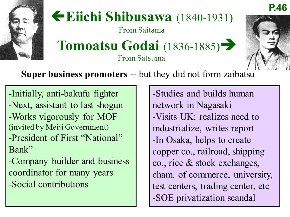 Super business promoters -- but they did not form zaibatsu