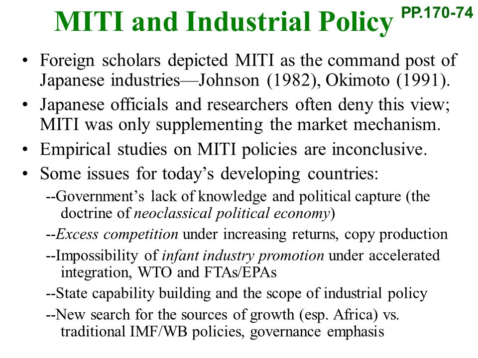 MITI and Industrial Policy