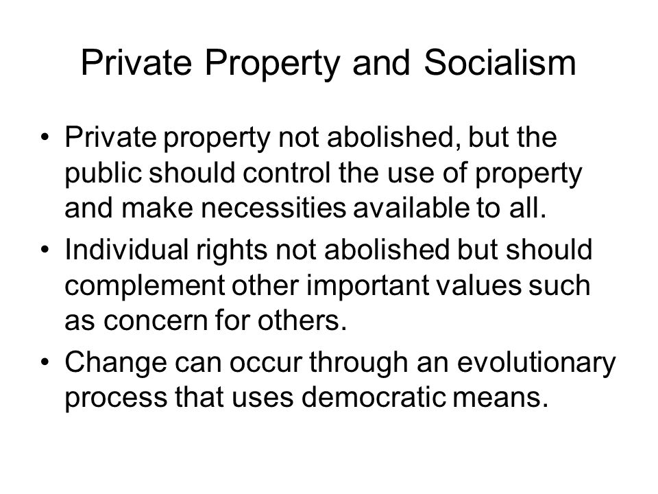 Private Property and Socialism