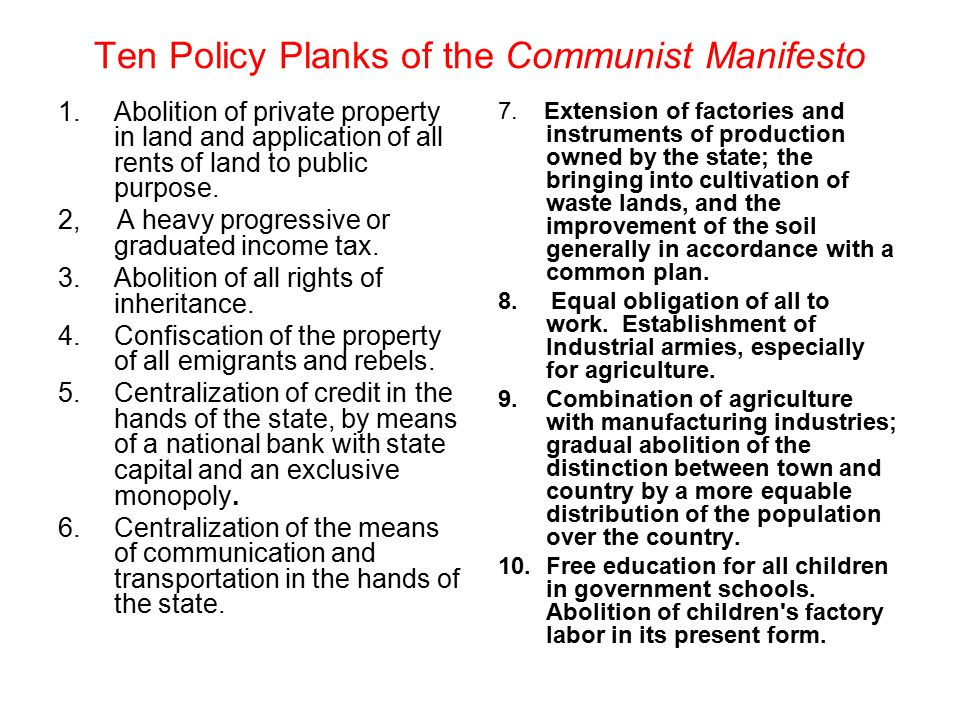 Ten Policy Planks of the Communist Manifesto