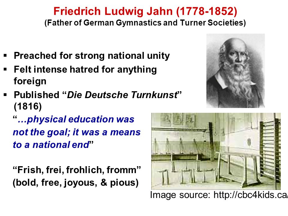 Friedrich Ludwig Jahn (1778-1852) (Father of German Gymnastics and Turner Societies)