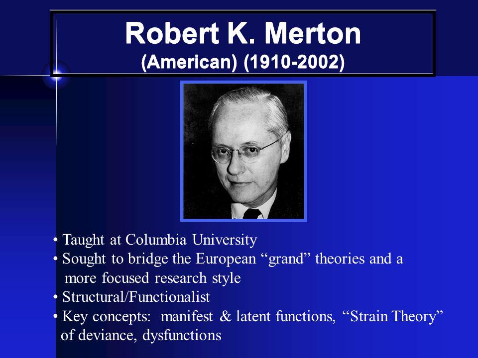 Robert K. Merton (American) (1910-2002)