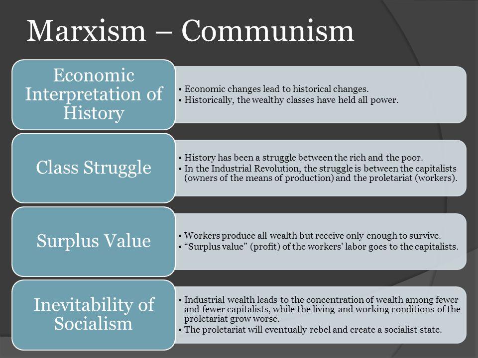 Marxism – Communism Economic Interpretation of History. Economic changes lead to historical changes.