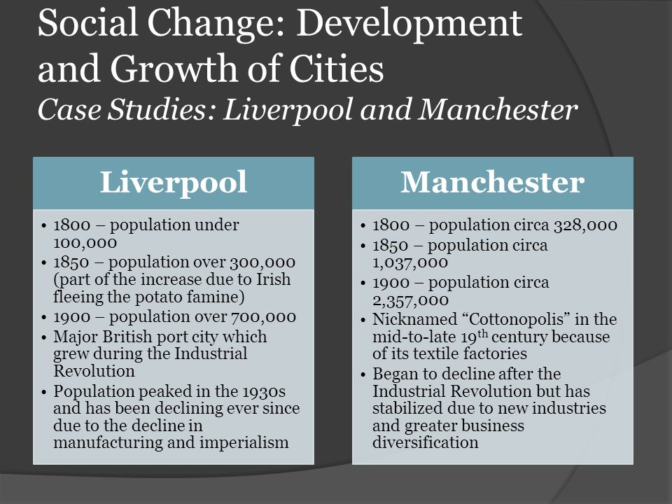 Social Change: Development and Growth of Cities Case Studies: Liverpool and Manchester