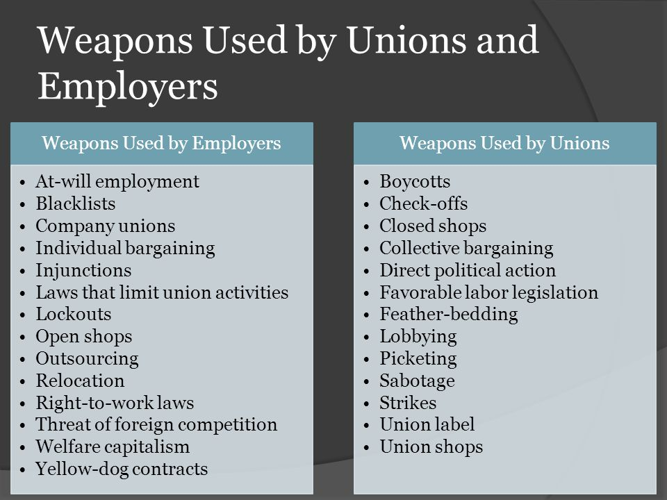 Weapons Used by Unions and Employers