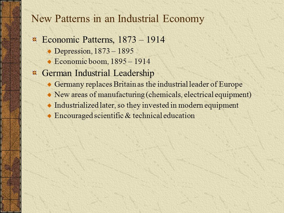 New Patterns in an Industrial Economy
