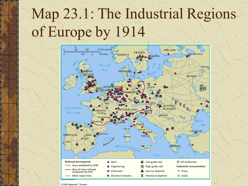 Map 23.1: The Industrial Regions of Europe by 1914
