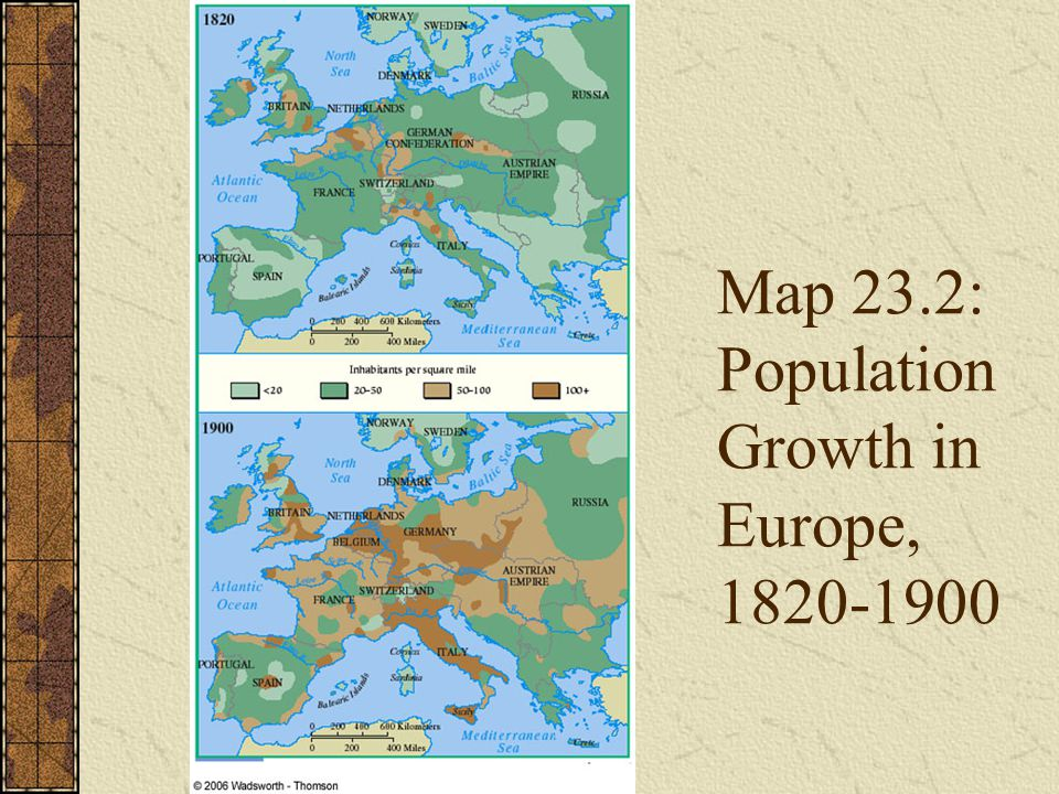 Map 23.2: Population Growth in Europe, 1820-1900