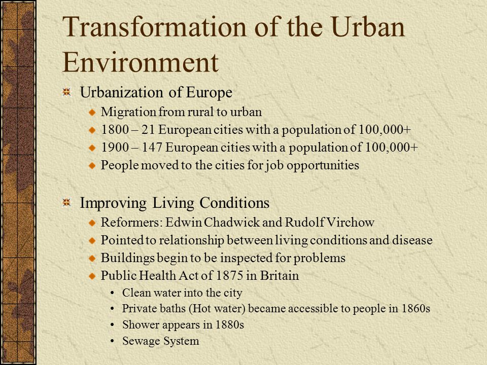 Transformation of the Urban Environment
