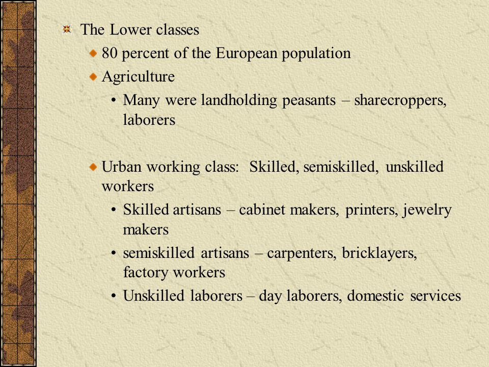 The Lower classes 80 percent of the European population. Agriculture. Many were landholding peasants – sharecroppers, laborers.