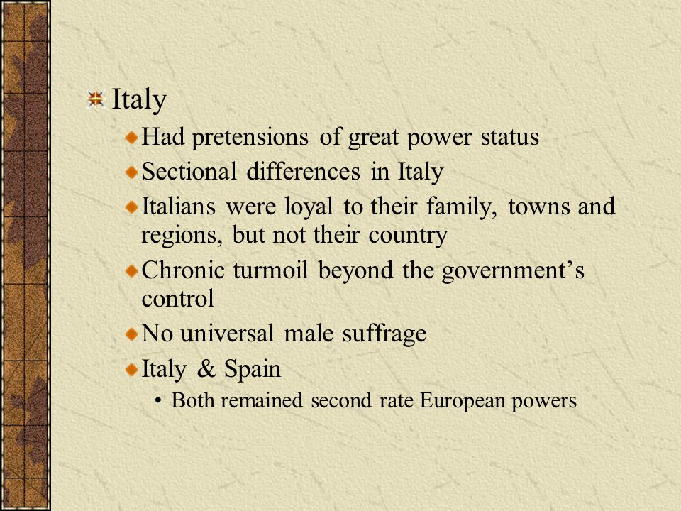 Italy Had pretensions of great power status
