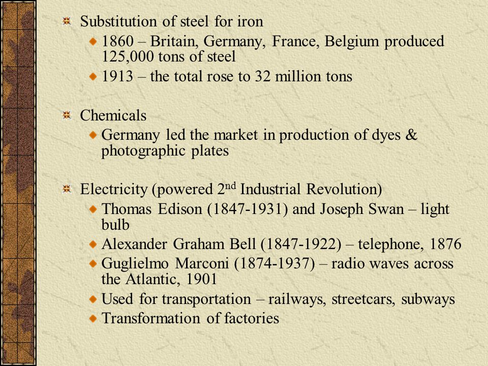 Substitution of steel for iron