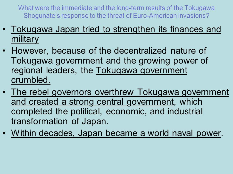 Tokugawa Japan tried to strengthen its finances and military