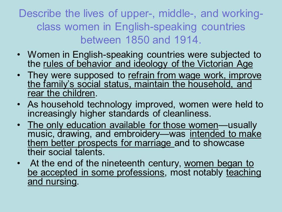 Describe the lives of upper-, middle-, and working-class women in English-speaking countries between 1850 and 1914.
