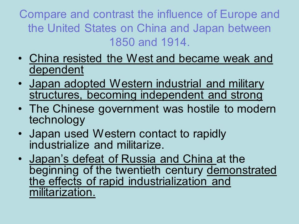 european influence on japan china Foreign imperialism in china dates back to the 16th century concerned that the european and japanese carve-up of china threatened american by the end of the 1800s a number of foreign powers had moved into china and established spheres of influence to further their commercial and.