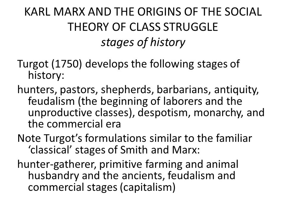 KARL MARX AND THE ORIGINS OF THE SOCIAL THEORY OF CLASS STRUGGLE stages of history