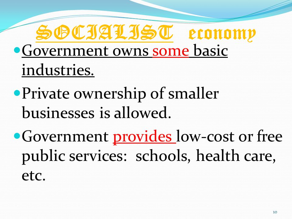 SOCIALIST economy Government owns some basic industries.
