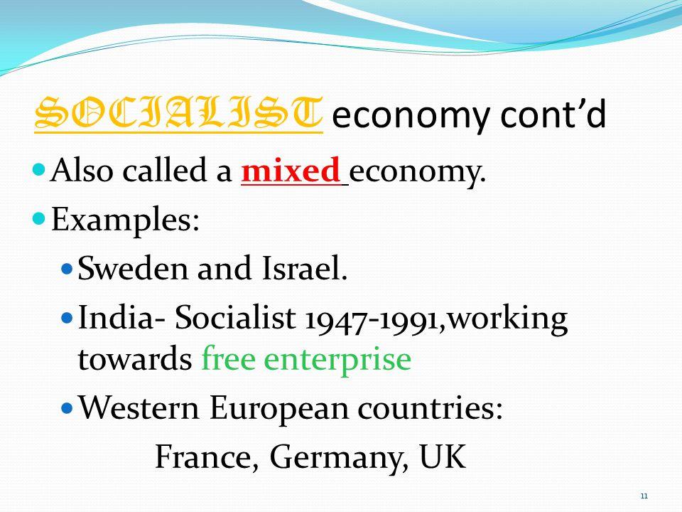 SOCIALIST economy cont'd