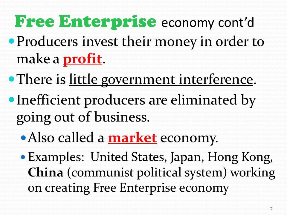 Free Enterprise economy cont'd