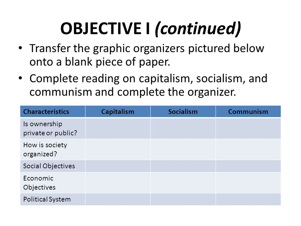 OBJECTIVE I (continued)