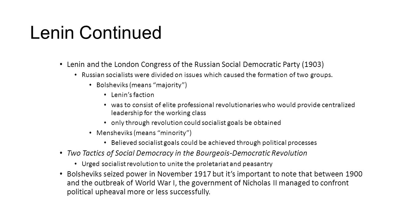 Lenin Continued Lenin and the London Congress of the Russian Social Democratic Party (1903)