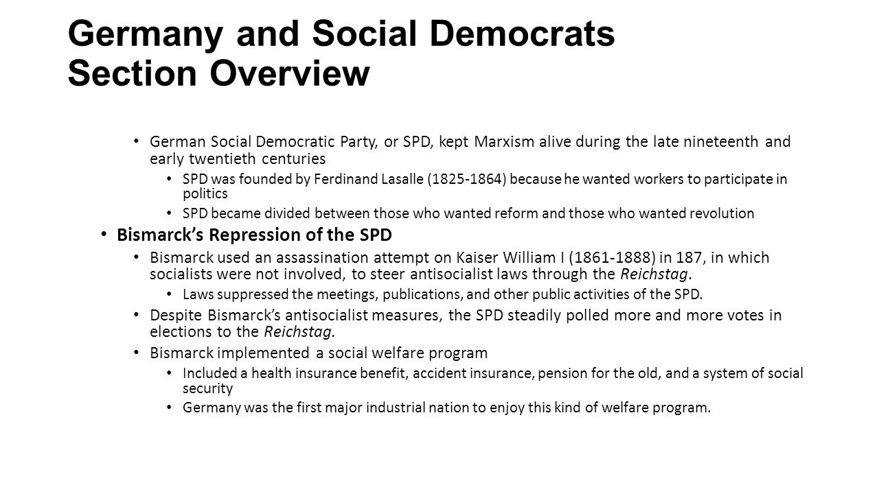 Germany and Social Democrats Section Overview