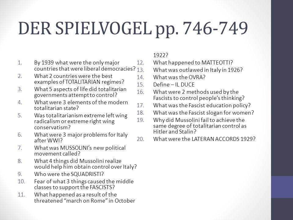 DER SPIELVOGEL pp. 746-749 What happened as a result of the threatened march on Rome in October 1922