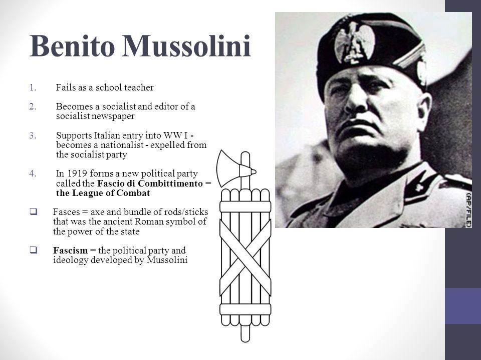 Benito Mussolini Fails as a school teacher