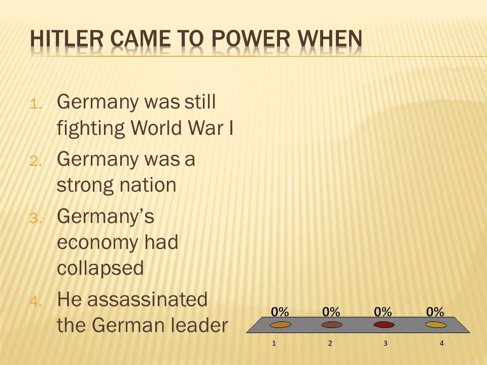 Hitler came to power when