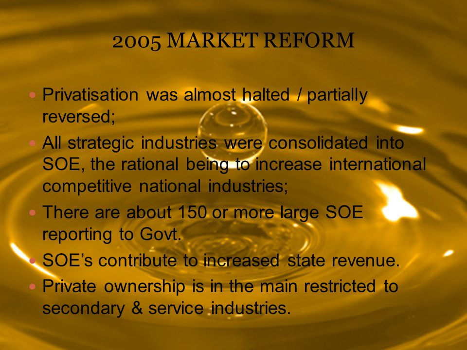 2005 MARKET REFORM Privatisation was almost halted / partially reversed;