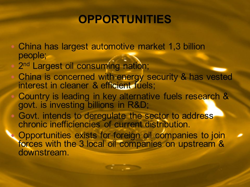 OPPORTUNITIES China has largest automotive market 1,3 billion people;