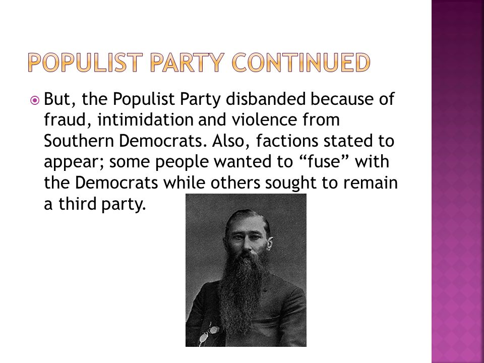 Populist Party Continued