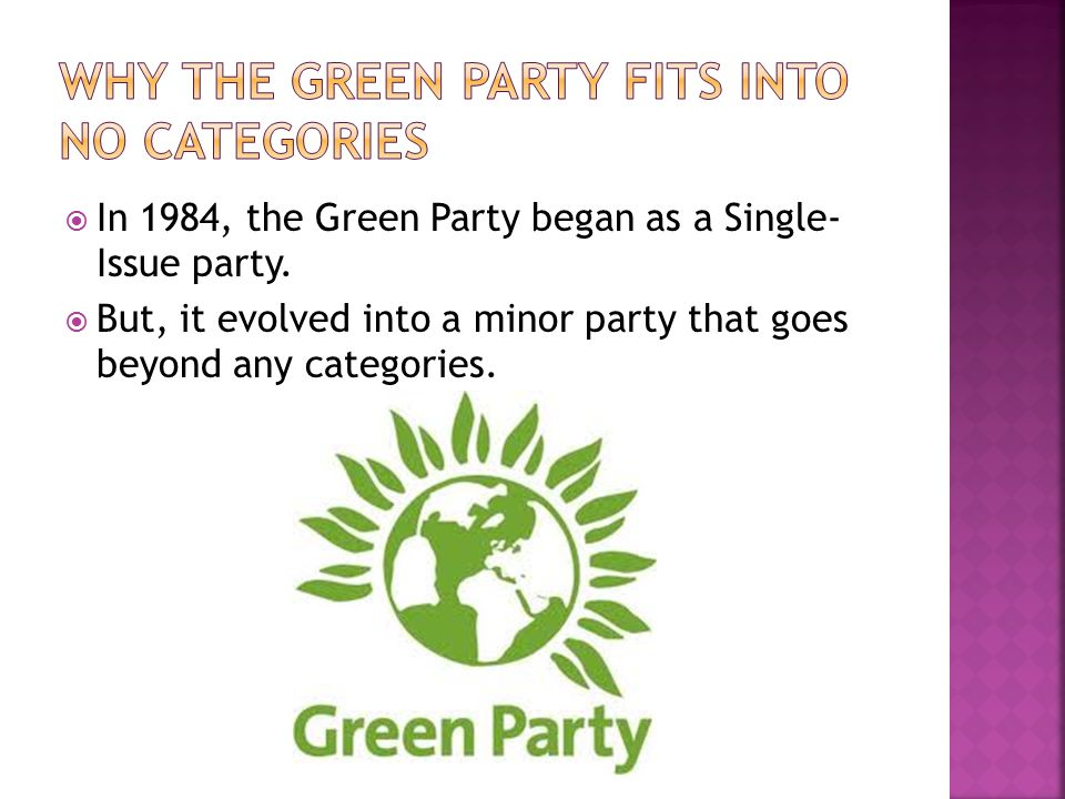 Why the Green Party fits into No Categories