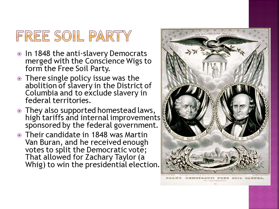Free Soil Party In 1848 the anti-slavery Democrats merged with the Conscience Wigs to form the Free Soil Party.